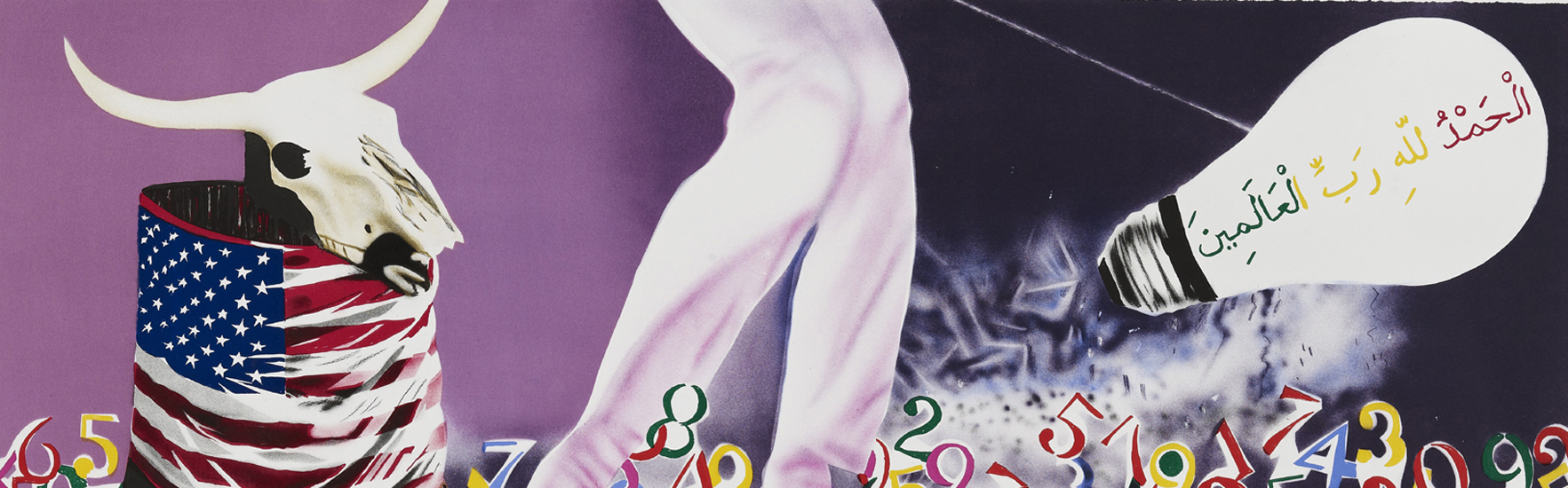 James Rosenquist, <em>The Xenophobic Movie Director or Our Foreign Policy</em>, 2011 15-color lithograph 63.5 x 147.3 cm (25 x 58 in), Edition of 42. Image: Courtesy of Gemini G.E.L.