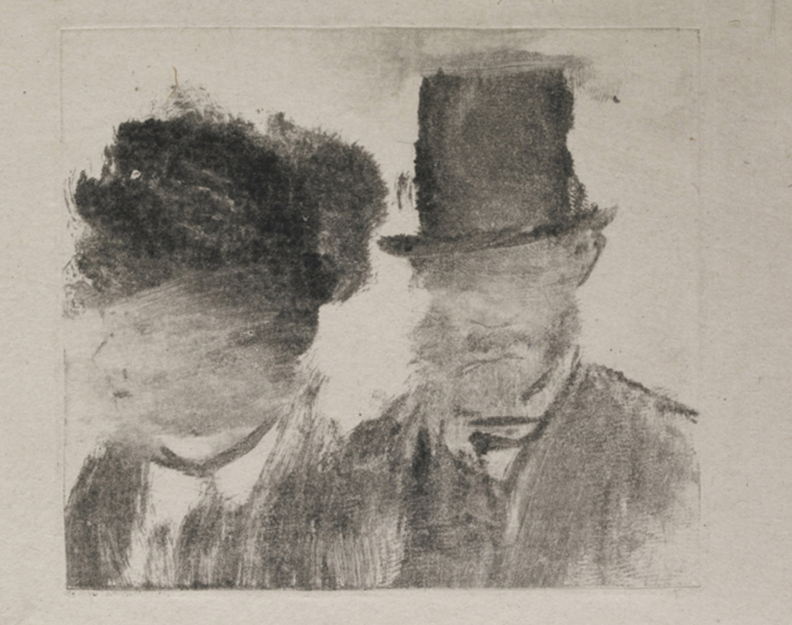 Edgar Degas,Heads of a Man and a Woman (Homme et femme, en buste), 1877–80, Monotype. Courtesy: MoMA, New York