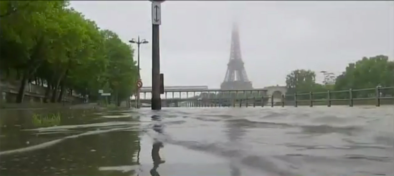The River Seine overflowning its banks