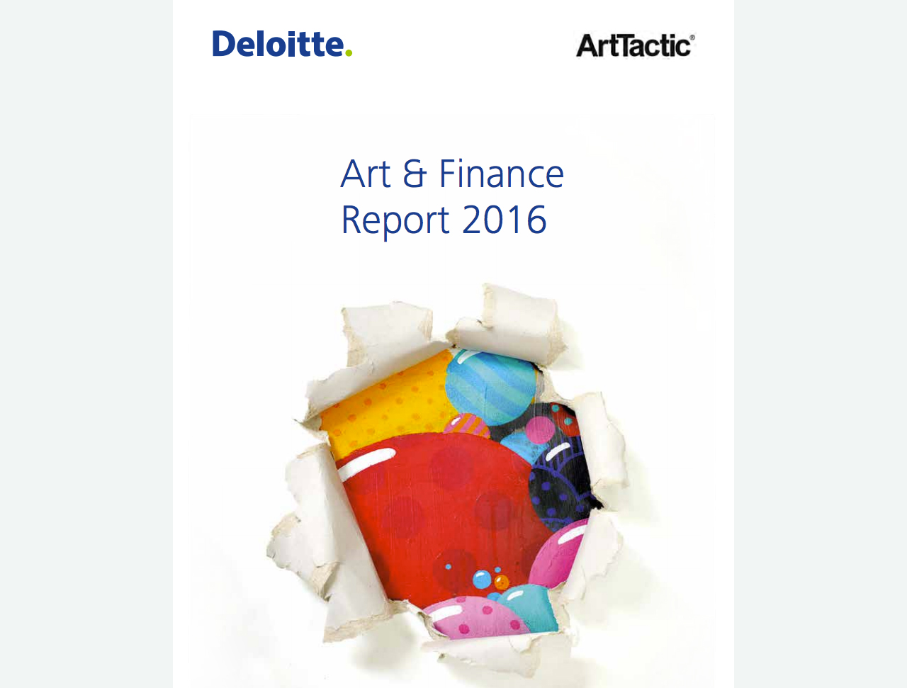 The cover of the Deloitte Art and Finance Report, 2016