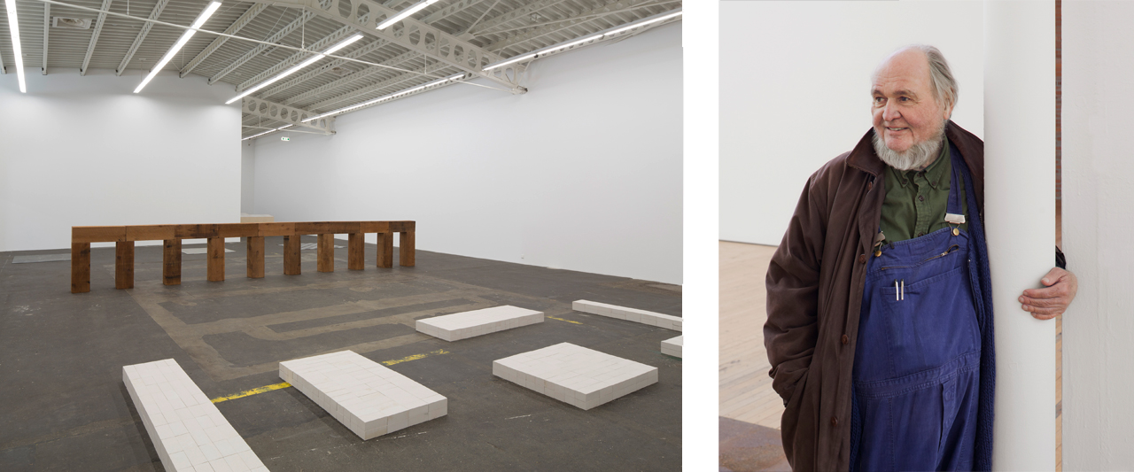 Left: 'Carl Andre: Sculpture as Place, 1958-2010', 2016, Exhibition view, Hamburger Bahnhof – Museum für Gegenwart. © Carl Andre / VG Bild-Kunst, Bonn 2016, Courtesy: Hamburger Bahnhof – Museum für Gegenwart, Berlin. Right: Carl Andre in Beacon, New Yor