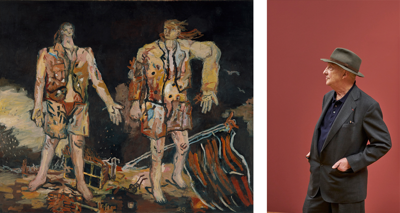 Left: Georg Baselitz, The Great Friends, 1965. Museum Ludwig, Cologne. © Georg Baselitz, Courtesy: Frank Oleski, Cologne. Right: Georg Baselitz. Courtesy: Städel Museum, Frankfurt am Main
