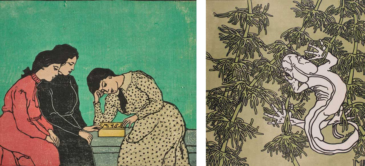 Left: Emil Orlik, Three Girls Playing a Boardgame, 1906/08, Woodcut. Collection Eugen Otto, Vienna. Courtesy: Norbert Miguletz. Right: Marie Uchatius, Gekko, 1906, Woodcut. Private Collection. Courtesy: Natter Fine Arts, Vienna