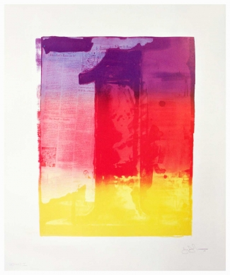 Jasper Johns collaboration with Kenneth Tyler, Figure 1 from Color Numeral Series, 1969, 7-color lithograph on Arjomari paper, 96 x 78 cm, Edition of 40 + 9 AP. Courtesy: Gemini G.E.L., Los Angeles
