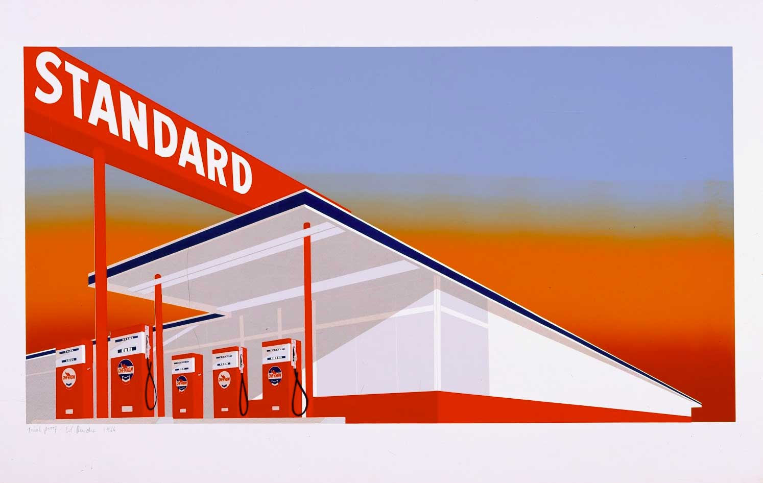 Ed Ruscha, Standard Station, 1966, Color screen print. Published by Audrey Sabol, Villanova, PA, Fine Arts Museums of San Francisco. © Ed Ruscha