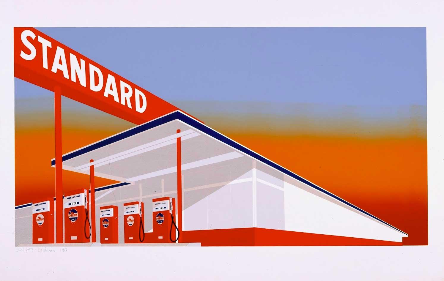 Ed Ruscha,Standard Station,1966, Color screen print. Published by Audrey Sabol, Villanova, PA, Fine Arts Museums of San Francisco. © Ed Ruscha