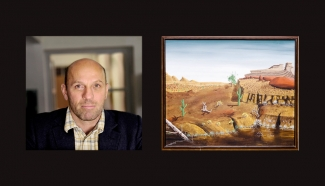 Left: Peter Doig. Source: Wikimedia Commons. Right: The painting allegedly produced by Peter Doig. Source: Twitter