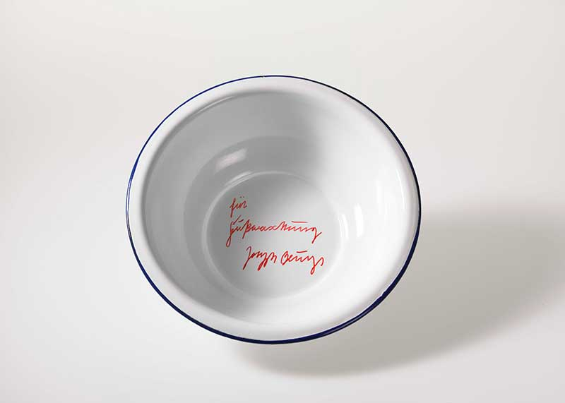 Joseph Beuys, <em>For Footwashing [für Fußwaschung]</em>, 1977, enamel basin, inscribed, Edition of 15 (unnumbered), Approx. 10 x 36 cm ⌀, Publisher: Edition Staeck, Heidelberg, 2013 acquired by PIN. Freunde der Pinakothek der Moderne e.V. for the Ba