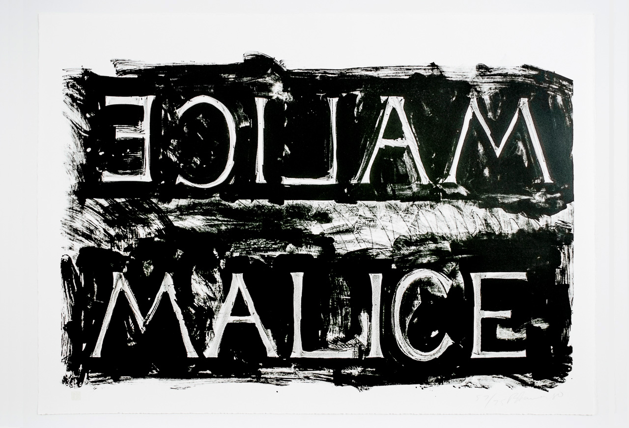Bruce Nauman, Malice, 1980, Lithograph, Edition of 75. Courtesy: Brooke Alexander, New York