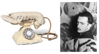 Left: Salvador Dalí and Edward James, Lobster Telephone, (white aphrodisiac), 1938. Courtesy: Christie's London. Right: Salvador Dalí, 1939. Source: Wikimedia Commons