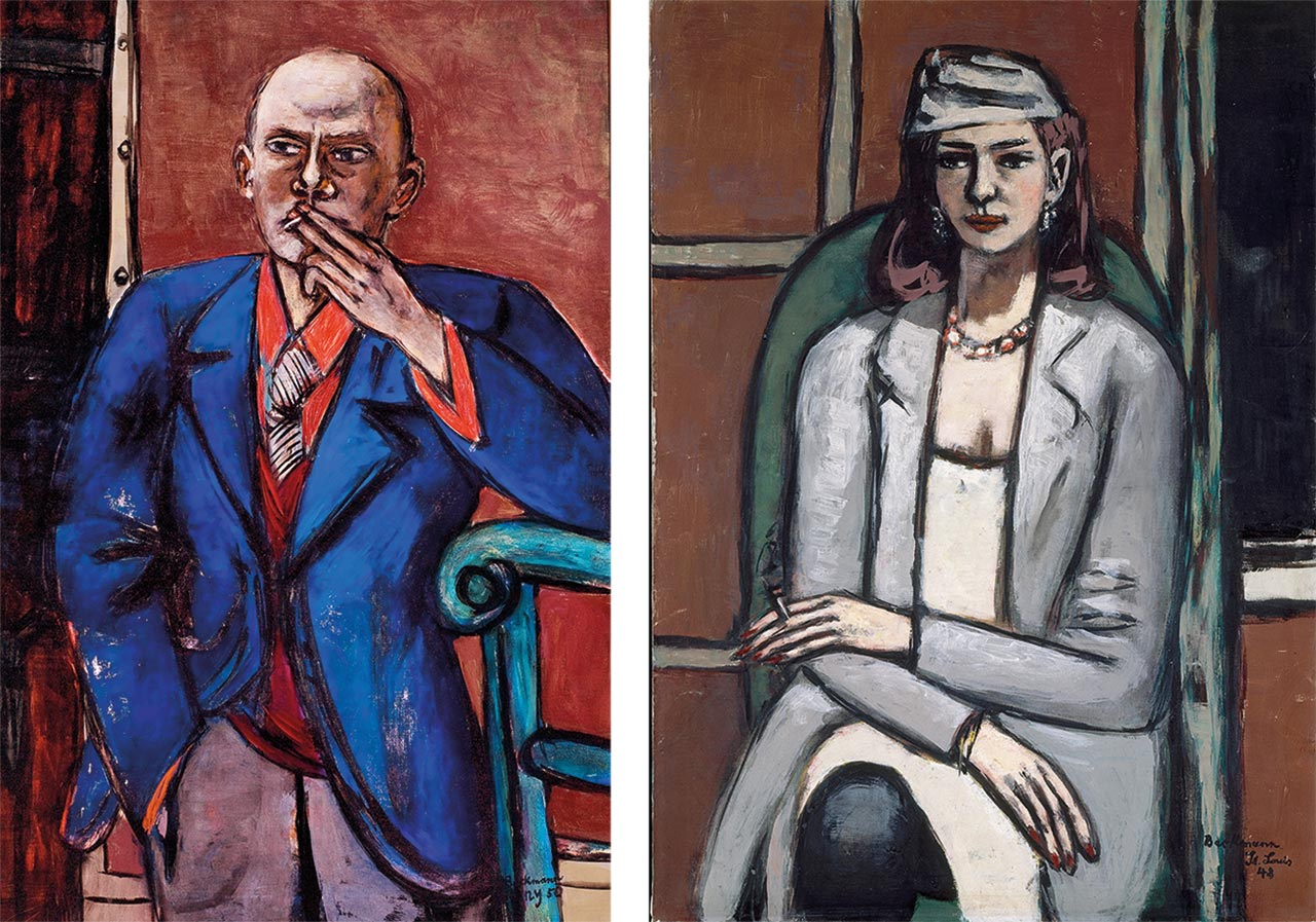 Left: Max Beckmann, Self-Portrait in Blue Jacket, 1950. Right: Max Beckmann, Quappi in Grey, 1948. Images: © 2016 Artists Rights Society (ARS), New York / VG Bild-Kunst, Bonn
