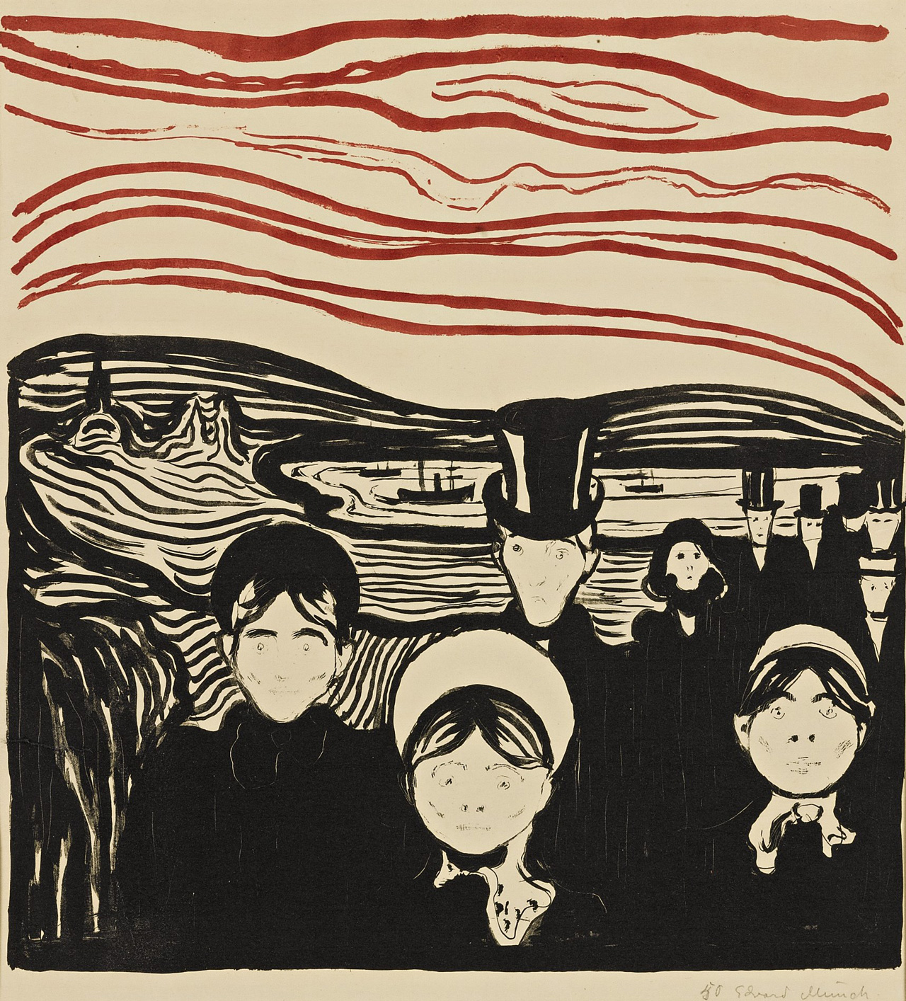 Edvard Munch, Angst (Woll 63; Schiefler 61). Courtesy: Sotheby's