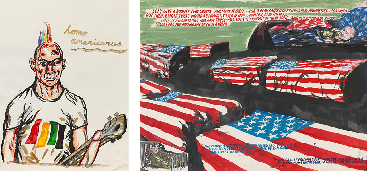 Left: Raymond Pettibon, No title (Homo Americanus), 2015. Courtesy: The artist and David Zwirner, Berlin. Right: Raymond Pettibon, No Title (Let's give a . . .), 2006. Courtesy: Hauser & Wirth
