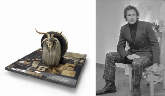 Left: Robert Rauschenberg, Monogram, 1955-59. © Robert Rauschenberg Foundation, New York. Right: Robert Rauschenberg. Source: Wikimedia Commons