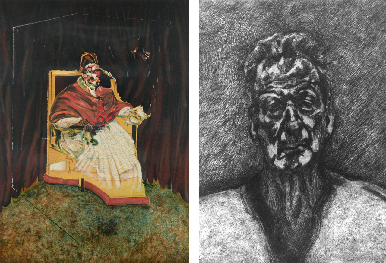 Left: Francis Bacon, Study for a Portrait of Pope Innocent X, 1989, lithograph. © The Estate of Francis Bacon. All rights reserved / DACS 2016. Right: Lucian Freud, Self Portrait: Reflection, 1996, etching.  © The Lucian Freud Archive
