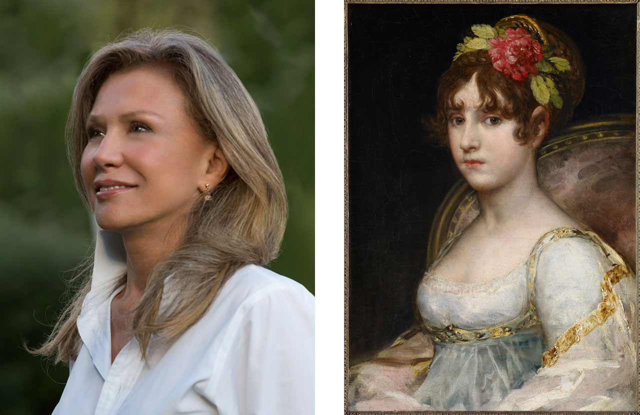 Left: Alicia Koplowitz, President of the Grupo Omega Capital. © José Manuel Ballester. Right: Francisco de Goya y Lucientes, Portrait de la comtesse de Haro, 1802/1803. © Collection Alicia Koplowitz/Grupo Omega Capital