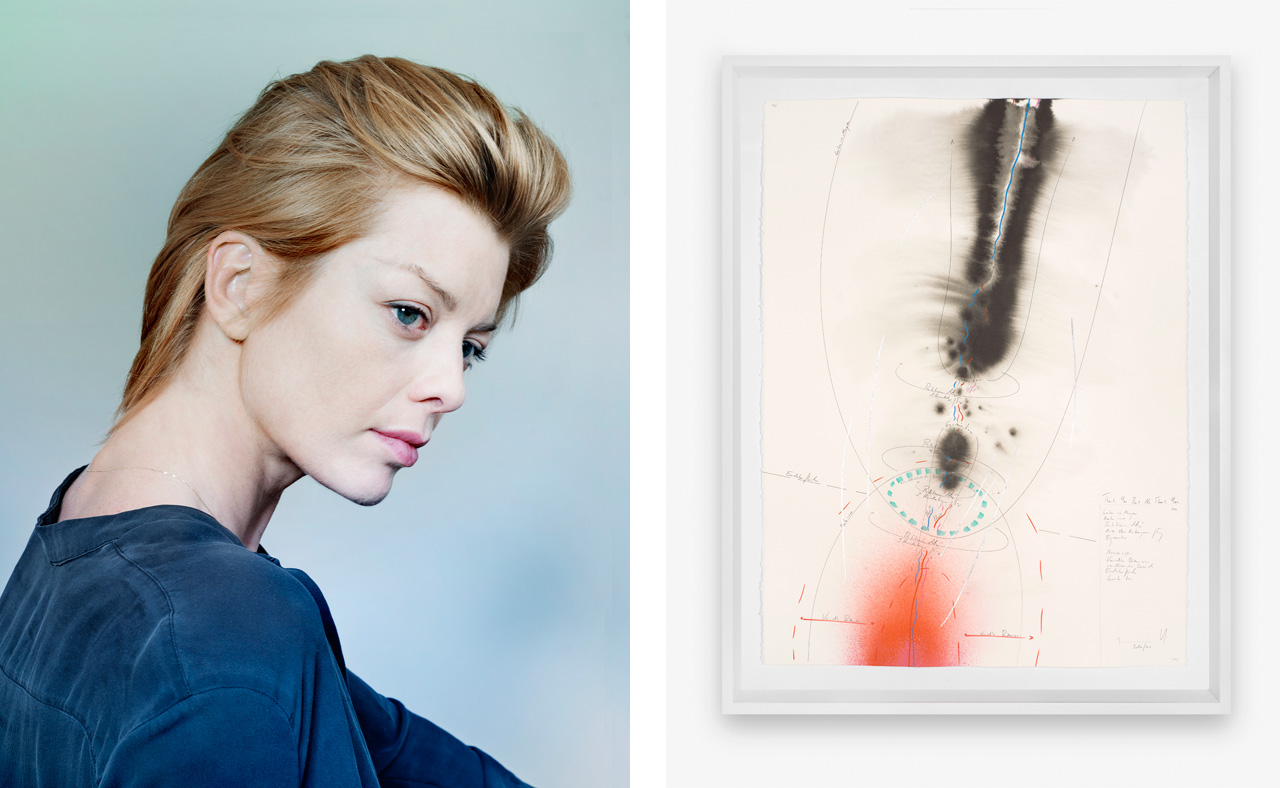 Left: Jorinde Voigt. Image: © Joerg Reichardt. Right: Jorinde Voigt, Thank You But No Thank You, I, 2017. Available to buy on fineartmultiple