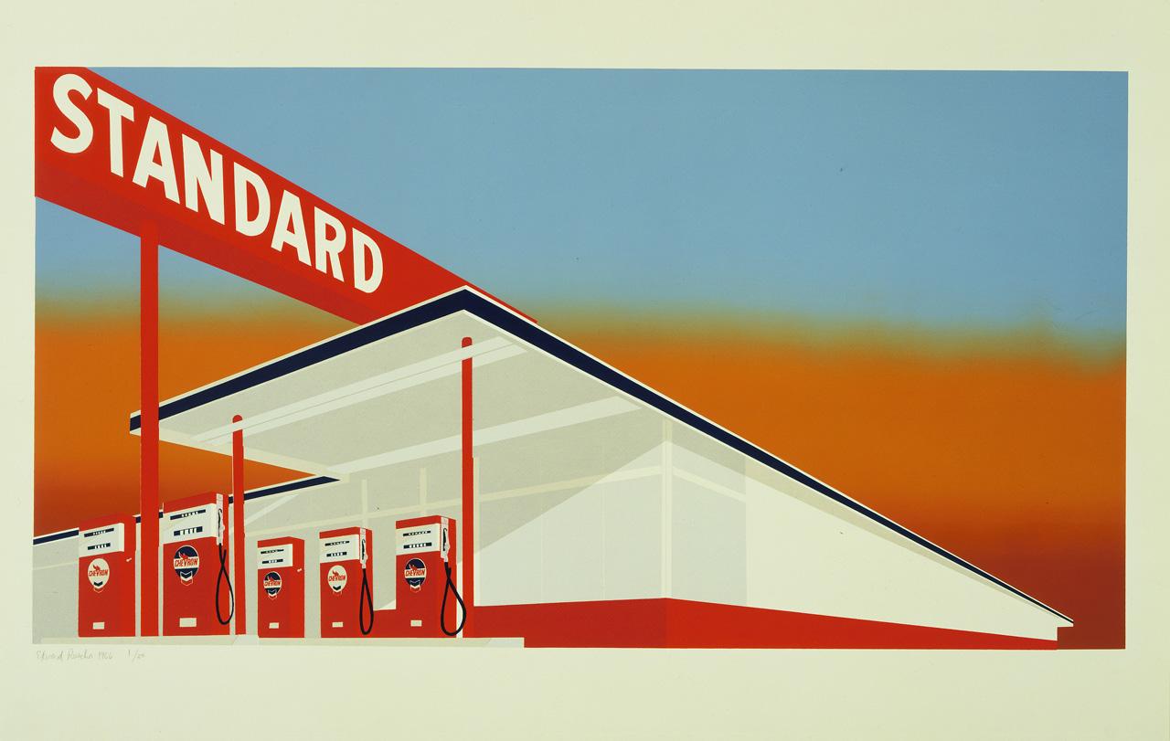 Edward Ruscha, Standard Station, 1966, colour screenprint, Edition of 50. Courtesy: The Museum of Modern Art, New York/Scala, Florence. © Ed Ruscha