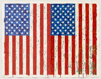 Jasper Johns, Flags I, Colour screenprint, 1973. Gift of Johanna and Leslie Garfield, on loan from the American Friends of the British Museum. © Jasper Johns/VAGA, New York/DACS, London 2016. © Tom Powel Imaging