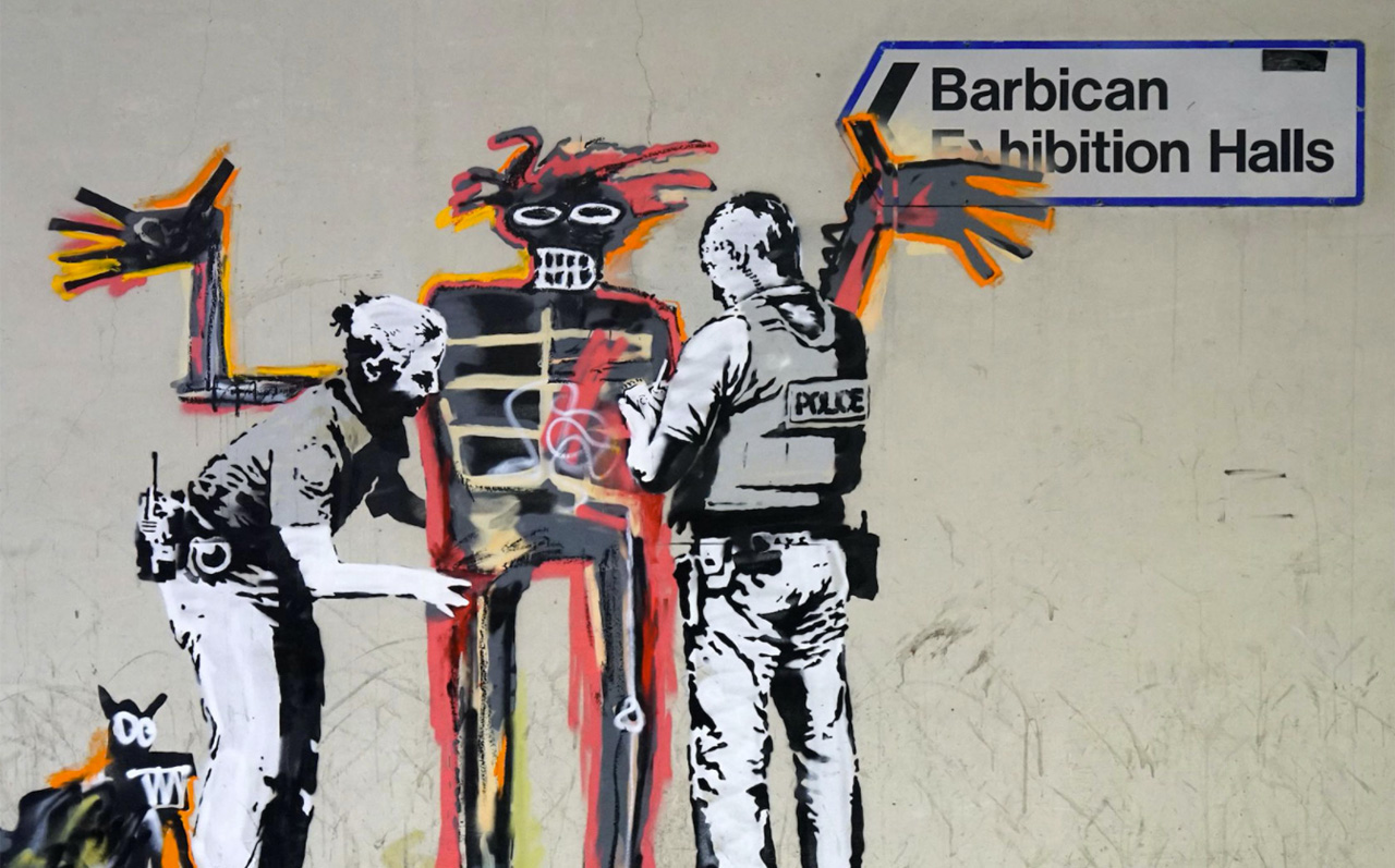 Banksy's Unofficial Collaboration with Jean-Michel Basquiat. Via: Banksy.co.uk