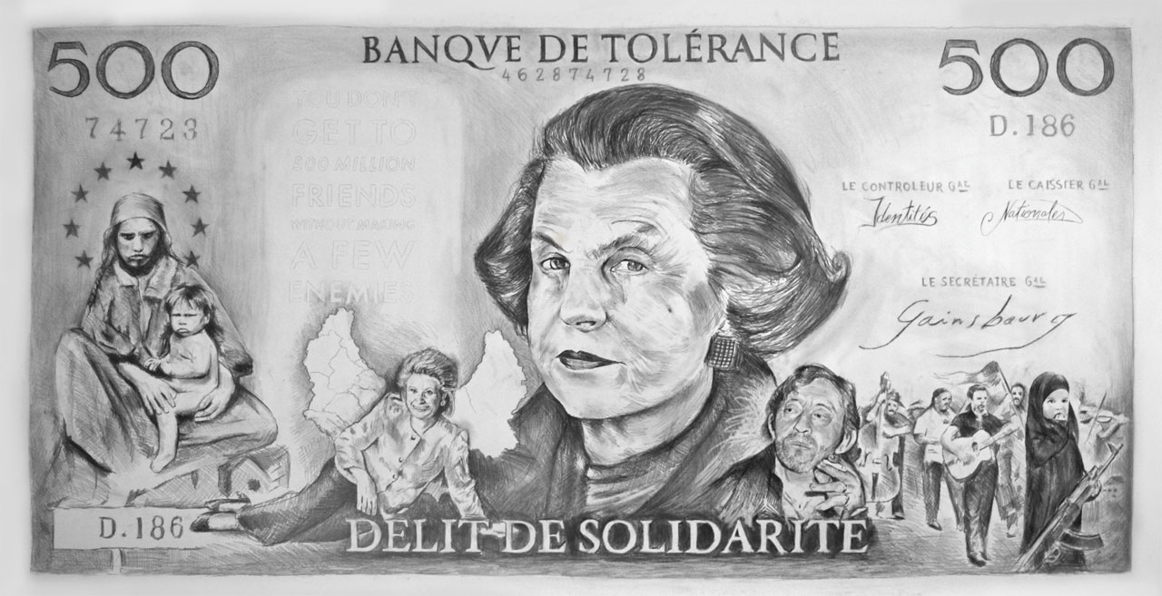 Drawing representing Liliane Bettencourt on a giant bank note. Via: Wikimedia Commons