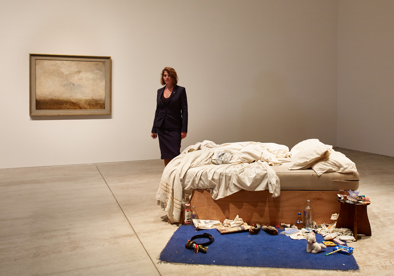 Tracey Emin at her exhibition Tracey Emin My Bed/JMW Turner at Turner Contemporary, Margate. Image: Stephen White. Courtesy: Turner Contemporary