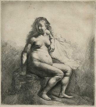Rembrandt Harmenszoon van Rijn, Naked Woman Seated on a Mound (II/II), 1631, Etching and engraving on paper. © Norfolk Museums Service