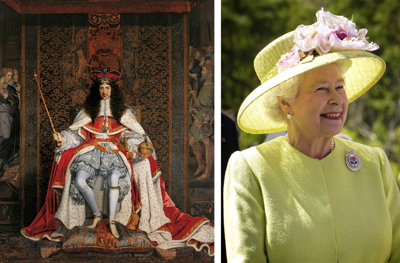 Left: John Michael Wright, Charles II, c.1676. Royal Collection Trust. © Her Majesty Queen Elizabeth II 2017. Right: Queen Elizabeth II. Via: Wikimedia Commons