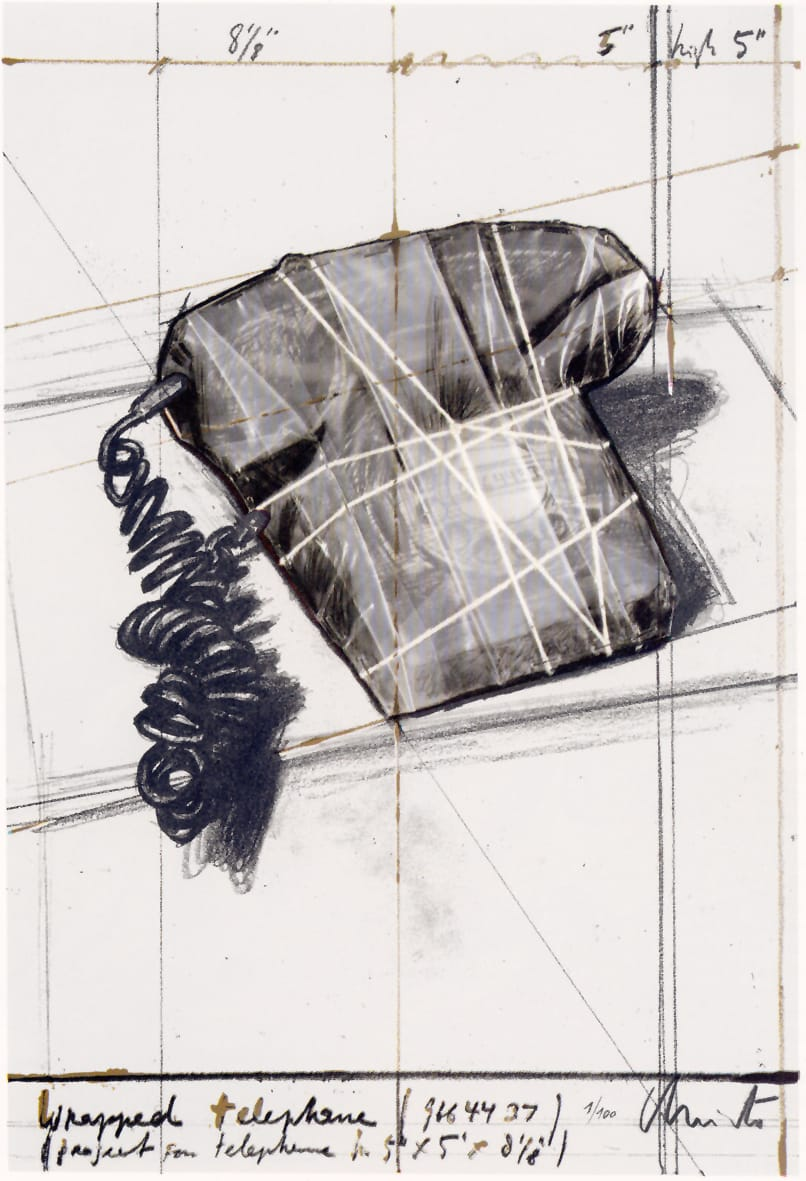 Christo, Telephone 12th Anniversary GJP, 1988, Lithograph, collage. Courtesy: Polígrafa, Barcelona
