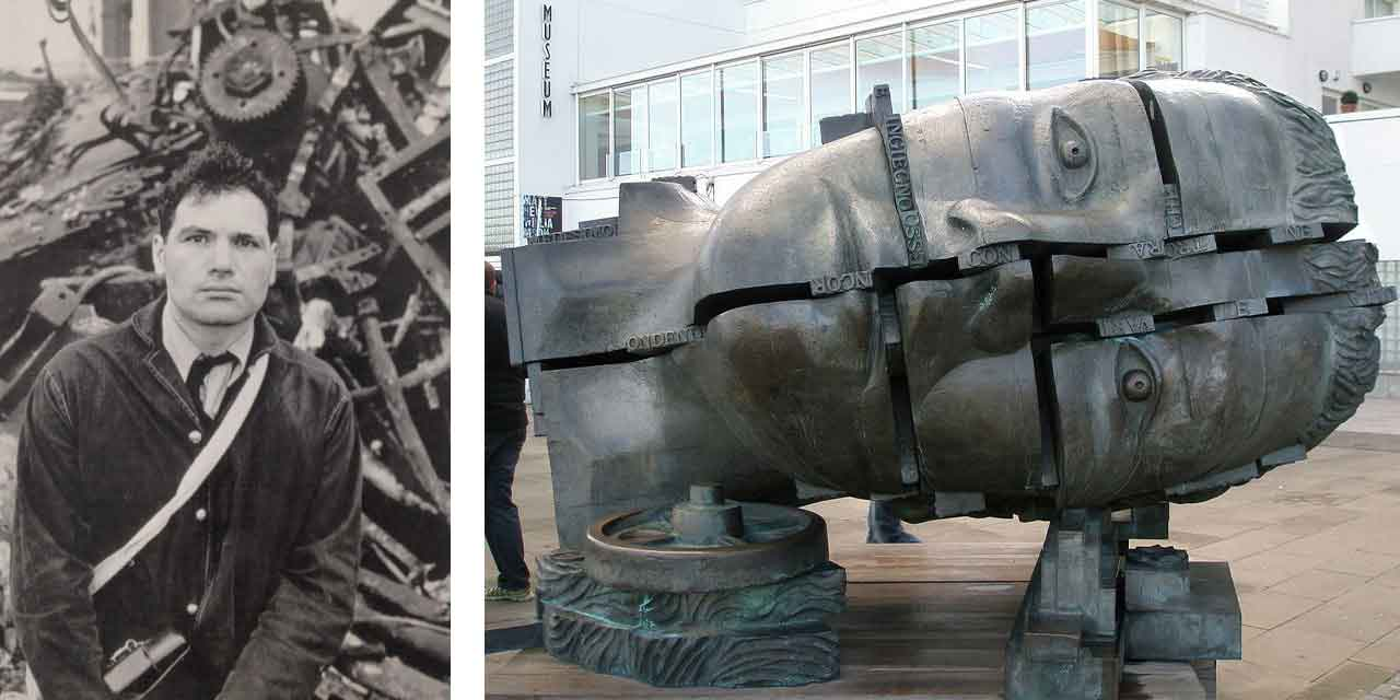 Left: Eduardo Paolozzi. Image: © Ulrich Mack. Right: Eduardo Paolozzi, The Head of Invention, James Watt, London