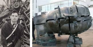 Left: Eduardo Paolozzi. Image: © Ulrich Mack. Right: Eduardo Paolozzi, The Head of Invention, James Watt, London