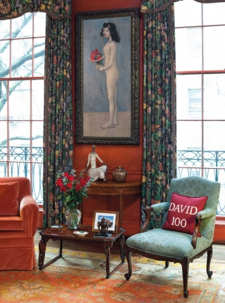 Peggy and David Rockefeller's Library at their East 65th Street Manhattan townhouse. Hanging on the wall is Pablo Picasso's Fillette à la corbeille fleurie, 1905. Image: Courtesy of Christie's, New York