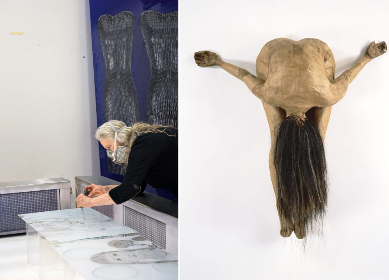 Left: Kiki Smith, working at Mayer'sche Hofkunstanstalt. Image: Bärbel Miebach, 2015. Right: Kiki Smith, Untitled, 1995. Image: Ellen Labenski. © Kiki Smith