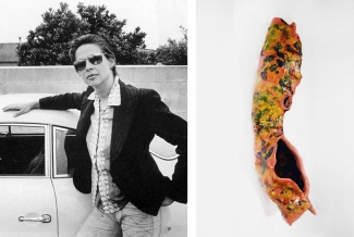 Left: Lynda Benglis from an advertisement in the April 1974 issue of Artforum. Image: via Wikimedia Commons. Right: Lynda Benglis, Bird's Nest # 10, 2016, Glazed ceramic, Edition of 18. Courtesy of fineartmultiple and Benefit Print Project