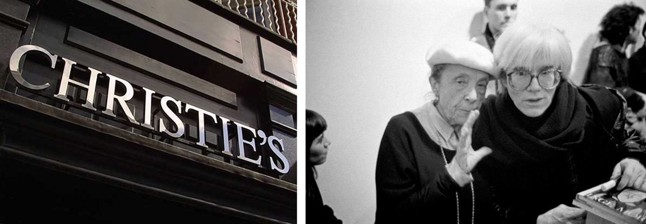 Left: Christie's London. Courtesy: Christie's Auction House, London. Right: Louise Bourgeois and Andy Warhol in New York. Image: via Tumblr