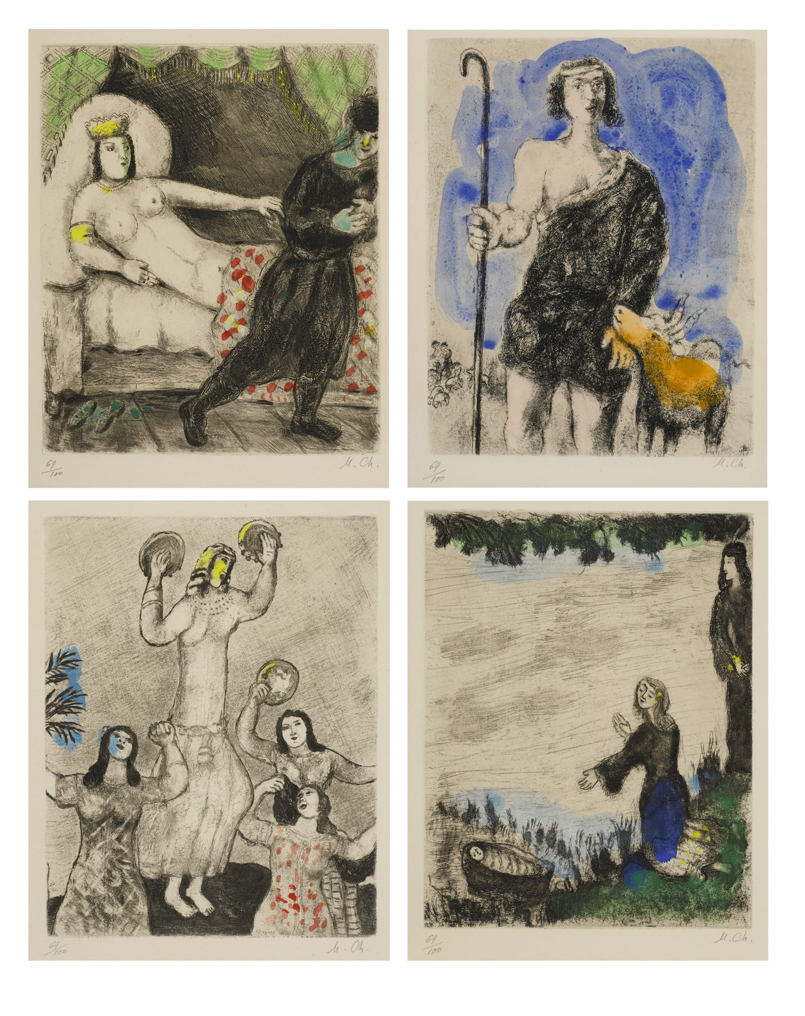 Marc Chagall, La Bible, 1931-1956, Etchings on Arches paper. Courtesy: Bonhams