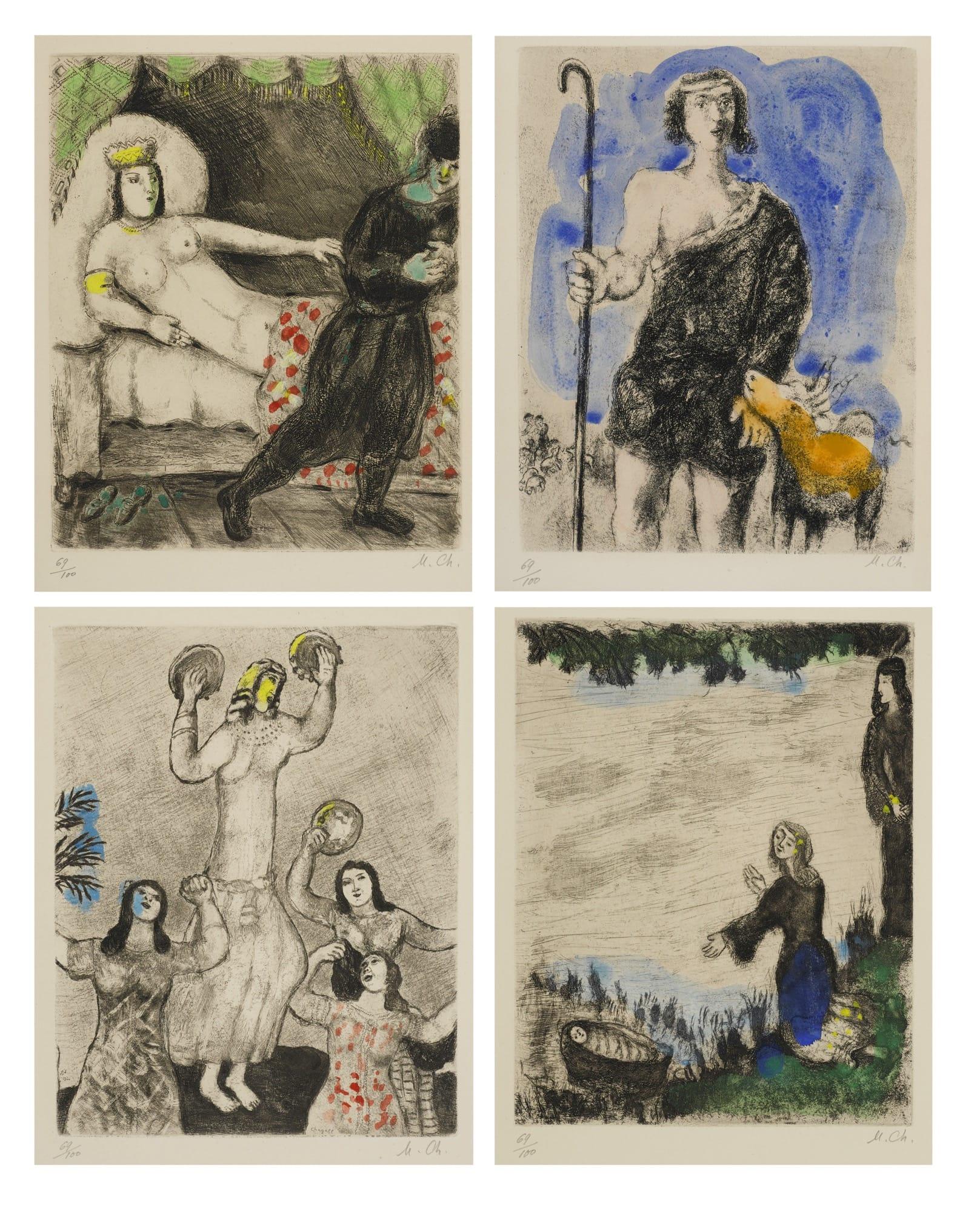 Marc Chagall,La Bible, 1931-1956, Etchings on Arches paper. Courtesy: Bonhams