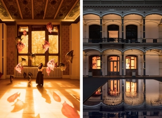 Both: Exhibition views, Philippe Parreno, Gropius Bau Berlin, 2018. Photos: Andrea Rossetti. Courtesy of the artist, Pilar Corrias, Barbara Gladstone, Esther Schipper. © Philippe Parreno