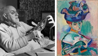 Left: Henri Matisse working on paper Cut-Outs. Image: via Wikimedia Commons. Right: Henri Matisse, Femme au chapeau, 1905. Courtesy of SFMOMA