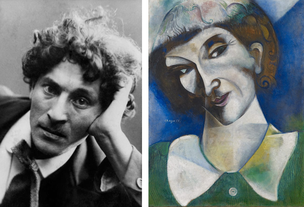 Left: Marc Chagall in 1910/1911. © Archives Marc and Ida Chagall. Right: Marc Chagall, Self-Portrait (Portrait de l'artiste), 1914. Courtesy of the Im Obersteg Collection and Kunstmuseum Basel.  © Marc Chagall, Vegap, Bilbao, 2018