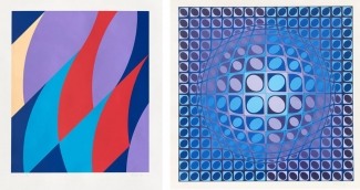 Left: Bridget Riley, Large Fragment, 2006. Courtesy of Sims Reed Gallery and fineartmultiple, available to buy on fineartmultiple. Right: Victor Vasarely, Vega, 1980. Courtesy of Gregg Shienbaum and fineartmultiple, available to buy on fineartmultiple