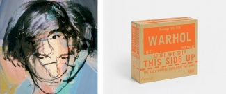 Left: Andy Warhol, Self-Portrait, 1978. © The Andy Warhol Foundation for the Visual Arts, Inc., New York. Right: Cover of The Andy Warhol Catalogue Raisonné, Paintings 1976-1978 - Volume 5, edited by Neil Printz and Sally King-Nero. Courtesy of Phaidon