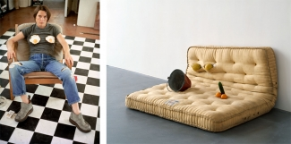 Left: Sarah Lucas, Self-portrait with Fried Eggs, 1996. Right: Sarah Lucas, Au Naturel, 1994. Both © Sarah Lucas. Both courtesy of Sadie Coles HQ, London