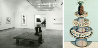 Left: Installation view of Wayne Thiebaud at SFMOMA, 1985. Photo: Ben Blackwell. Courtesy of SFMOMA. Right: Wayne Thiebaud, Pineapple Tray, 1972/1990/1992. © Wayne Thiebaud / Licensed by VAGA, New York. Courtesy of SFMOMA