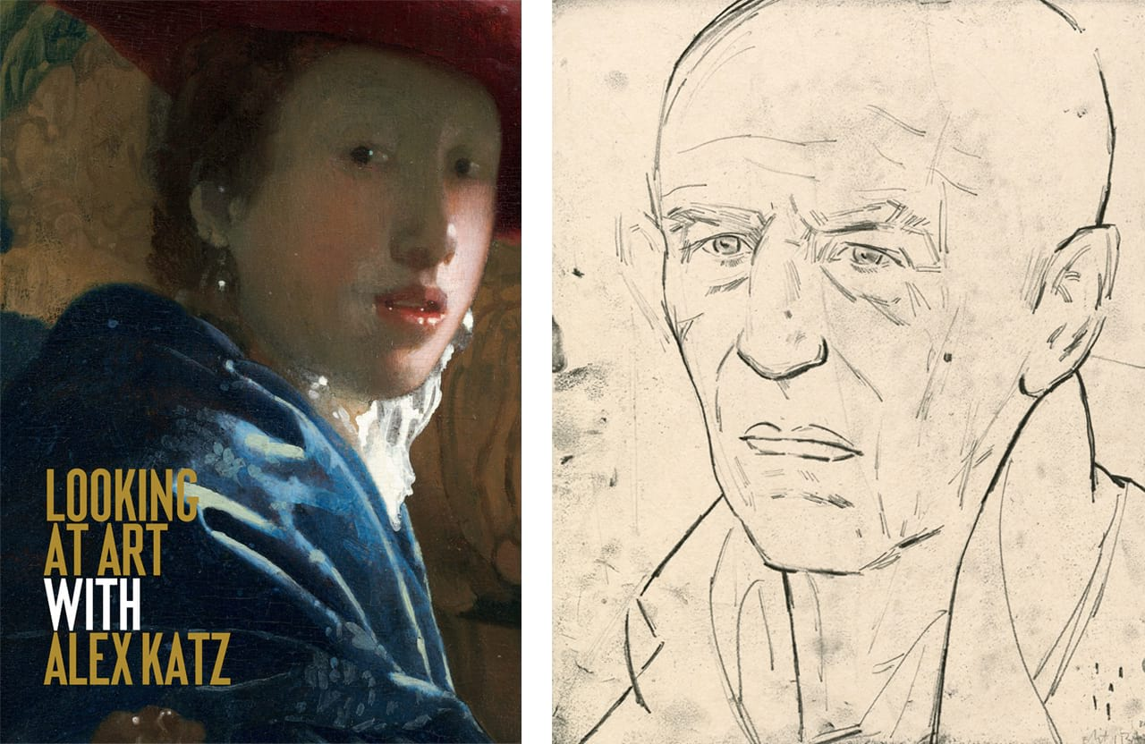 Left: Cover of Looking at Art with Alex Katz, by Alex Katz, published by Laurence King, 2018. © The Author and Laurence King Publishing. Right: Elizabeth Peyton, Alex (Katz), 2012. Courtesy of Two Palms and fineartmultiple