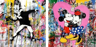 Left: Mr. Brainwash, Banksy Thrower, 2018. Right: Mr. Brainwash, Mickey & Minnie (Pink), 2017. Both Courtesy of Galerie Frank Fluegel and fineartmultiple, both available to buy on fineartmultiple
