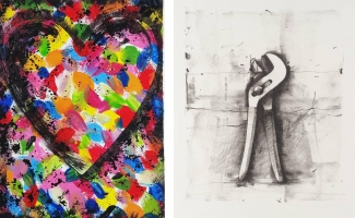 Left: Jim Dine, Confetti Heart, 1985. Right: Jim Dine, Untitled (from Ten Winter Tools), 1973. Images: via wikiart.org