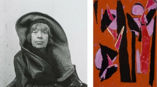 Left: Irving Penn, Lee Krasner, Springs, NY, 1972. © The Irving Penn Foundation. Right:  Lee Krasner, Desert Moon, 1955. © The Pollock-Krasner Foundation. Courtesy of Digital Image Museum Associates/ LACMA/Art Resource NY/ Scala, Florence