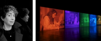 Left: Portrait of Susan Hiller, 2006. Right: Susan Hiller, Psi Girls, 1999. Photo: Maria da Schio. Both Courtesy of Fondazione Ratti