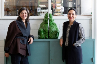 Stefania Palumbo & Shirin Marquart at the Archivio Conz, standing beside a work by Milan Knížák, Half of Buddha, 1989. Image: © Petrov Ahner